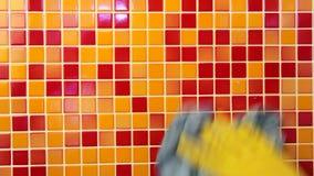Tarefas da casa - limpando a parede do banheiro com o pano de limpeza e o spr filme
