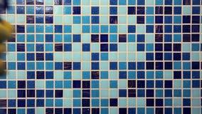 Tarefas da casa - limpando a parede do banheiro com o pano de limpeza e o spr video estoque