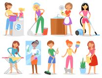 Tarefas domésticas da mulher do vetor da dona de casa e casa guardar limpo com aspirador de p30 e ilustração da máquina de lavar  Foto de Stock