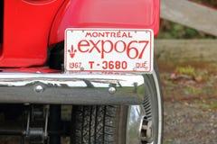 Targa di immatricolazione d'annata dell'Expo 67 Immagine Stock Libera da Diritti