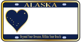 Targa di immatricolazione dello stato dell'Alaska Immagini Stock Libere da Diritti