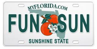 Targa di immatricolazione di Florida con divertimento ed il Sun del testo illustrazione vettoriale