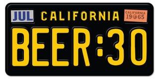 Targa di immatricolazione di Thity 30 della birra California Illustrazione di Stock
