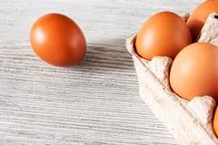 target278_1_ łamający kulinarnych obrazu jajek nietknięty postęp niektóre taca obraz stock