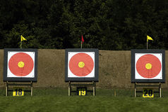 Target. Three target for archery sports on shooting range Stock Photo