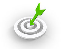 Target. Beautiful white target whit green arrow Stock Photos