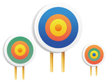 On Target. Three color  targets in a white background Stock Image