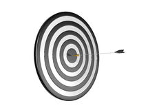 On Target. 3d image: One arrow on target Stock Images