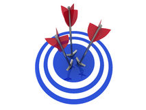 On Target. Illustration of three arrows hitting the centre of a glossy target. Isolated on white Stock Photos