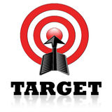 The target. Illustration of a red target symbol with arrow in the centre Royalty Free Stock Image