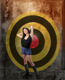 Target. Attractive woman in front of sight Royalty Free Stock Images