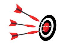 Business success hitting arrow to center target stock illustration