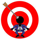 Target. Cartoon action icon of a man and a target board Royalty Free Stock Photo