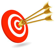 On target. Three arrows in the target for a successful performance. All elements are on individual layers in the Vector eps. file for easy editing Stock Photos