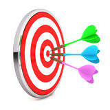 Target. 3d render of a target with darts on center  on white background Stock Photo