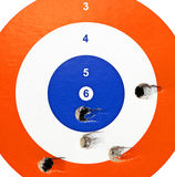 Target. A target with bullet holes in it (made by an air rifle Stock Images
