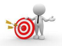 Target. 3d people - man, person with a target and arrows Royalty Free Stock Images