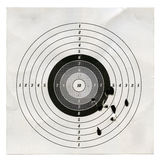 Target. Holes in a shooting practice target royalty free stock photo