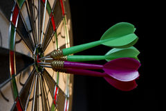 On the Target. All darts hitting the target Royalty Free Stock Image