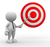 Target. 3d people - man, person pointing a target Stock Image
