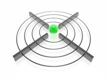Target. 3d target with green sphere Stock Image