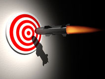 On target. A cruise missle ( rocket ) aiming target - rendered in 3d Royalty Free Stock Photos