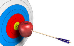 Target. Center with an arrow inside an apple Stock Images