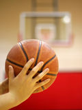 Target. Player holding a basketball ready to shoot Royalty Free Stock Photo