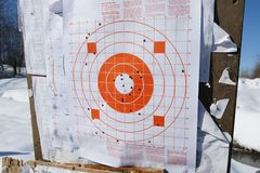 Target. A picture of target of concentric circles with holes in it Royalty Free Stock Photo