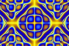 Target. Abstract symmetry colorful blue and yellow curved lines and patterns with squares Stock Images