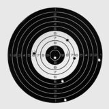 Target after accurate shooting, hit the bull`s eye.  royalty free stock photography