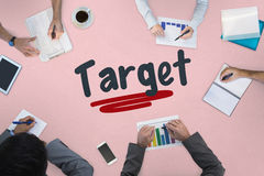 Target against business meeting. The word target against business meeting Stock Photography