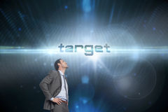 Target against futuristic black background Stock Photography