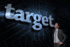 Target against futuristic black and blue background Royalty Free Stock Photo