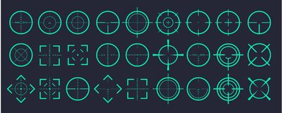 Target aim and aiming to bullseye signs symbol.Creative vector illustration of crosshairs icon set isolated on. Transparent background. Art design. Vector vector illustration