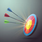 Target aim with arrows and light effect Stock Images