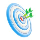Target aim glossy mark with darts isolated on white Royalty Free Stock Image