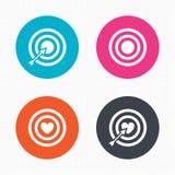Target aim icons. Darts board signs symbols Royalty Free Stock Images