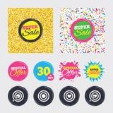 Target aim icons. Darts board signs symbols. Stock Photos