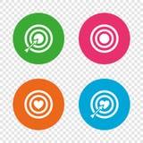 Target aim icons. Darts board signs symbols. Royalty Free Stock Images