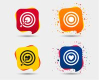 Target aim icons. Darts board signs symbols. Target aim icons. Darts board with heart and arrow signs symbols. Speech bubbles or chat symbols. Colored elements Royalty Free Stock Photography