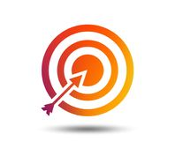 Target aim sign icon. Darts board symbol. Target aim sign icon. Darts board with arrow symbol. Blurred gradient design element. Vivid graphic flat icon. Vector Stock Image