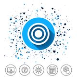 Target aim sign icon. Darts board symbol. Button on circles background. Target aim sign icon. Darts board symbol. Calendar line icon. And more line signs Royalty Free Stock Photography