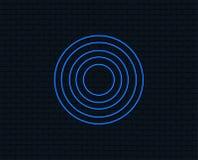 Target aim sign icon. Darts board symbol. Neon light. Target aim sign icon. Darts board symbol. Glowing graphic design. Brick wall. Vector vector illustration