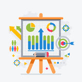 Target analytics charts on the board presentations Royalty Free Stock Images