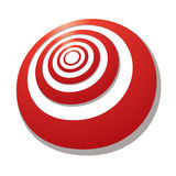 Target angle. Red target with a shadow drawn in perspective at an angle stock illustration