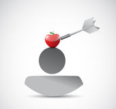 Target apple in top of your head. illustration. Design over a white background stock illustration