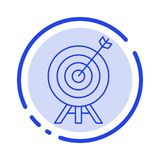 Target, Archery, Arrow, Board Blue Dotted Line Line Icon royalty free illustration