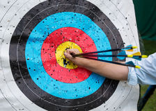 Target for archery with arrows Stock Photography
