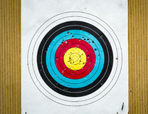 Target. Archery target full of hole made by arrows Stock Images